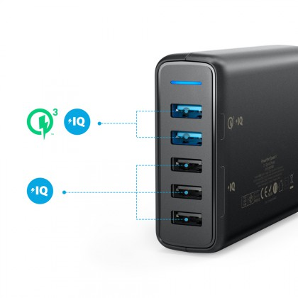 Anker Power Port 5, Quick Charge Charger with Dual USB 3.0 Charging Ports and 3 Power IQ Ports