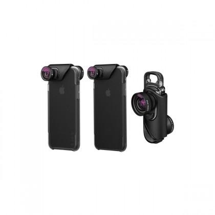 OLLOCLIP 3-In-1 & Ollocase For iPhone 7 / 7 Plus (w/ 2 Cases) - Lens: Black/Black / Case