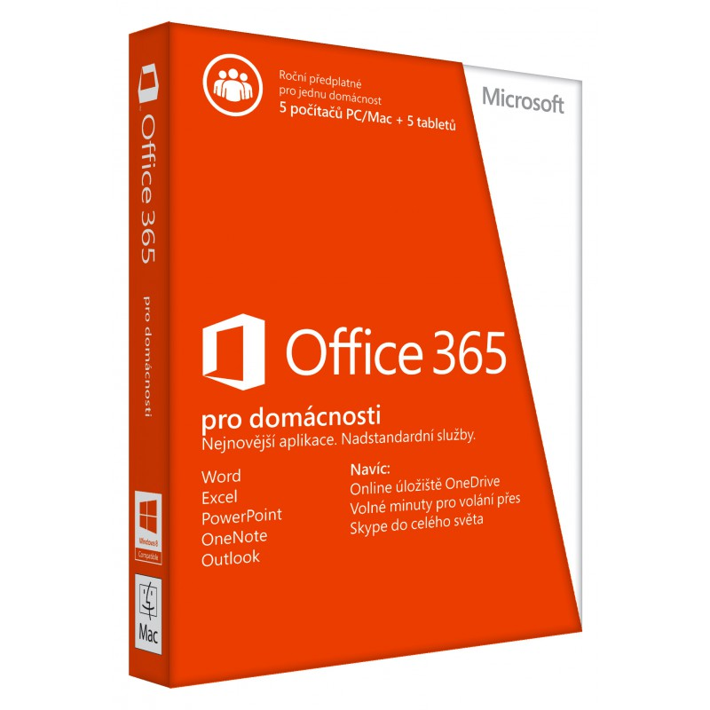 Microsoft Office 365 pro domácnosti - předplatné na 1 rok