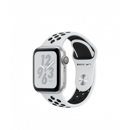 Apple Watch Nike+ Series 4 GPS and GPS + Cellular, Silver Aluminium Case with Pure Platinum/Black Nike Sport Band