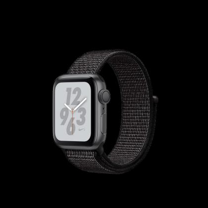 AppleWatch Nike+ Series4 GPS, 40mm Space Grey Aluminium Case with Black Nike Sport Loop