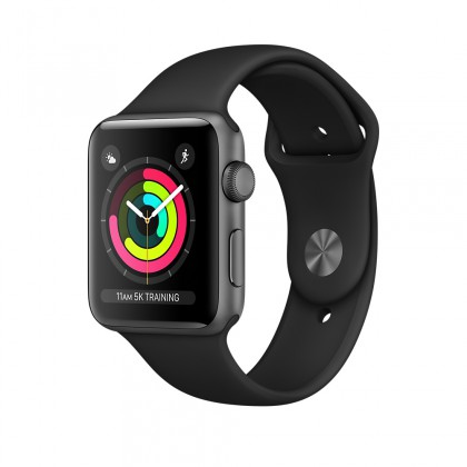 Apple Watch Series 3 GPS, Space Grey Aluminium Case with Black Sport Band