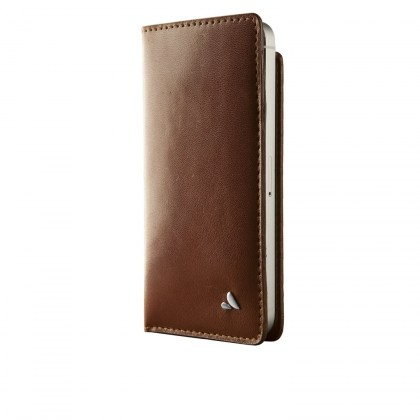 Vaja - Wallet Pelle Sand Argentinean Leather Folio Case for iPhone 5/5S - Henna Brown [VJ028948]