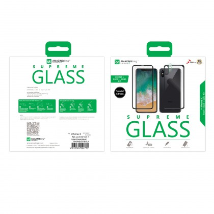 AT IPHONE X FULLY COVERED SUPREME GLASS FRONT, BACK & LENS SET (black / White)