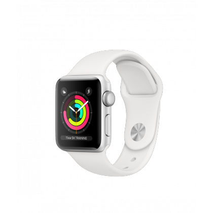 AppleWatch Series3 GPS+Cellular, 42mm Silver Aluminium Case with White Sport Band