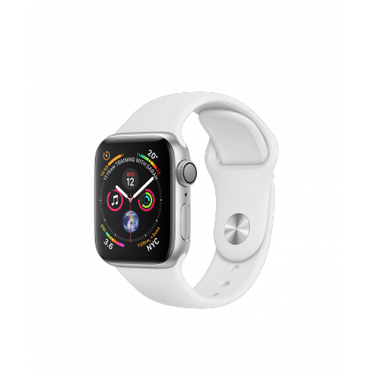 Apple Watch Series 4 Silver Aluminum Case with White Sport Band