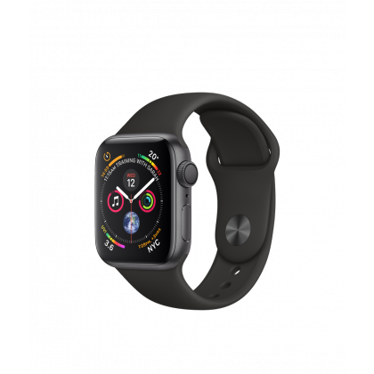40mm Apple Watch Series 4 GPS  Silver Aluminum Case with Black Sand Sport Band