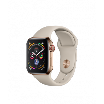 Apple Watch Series 4 GPS + Cellular Gold Stainless Steel Case with Stone Sport Band