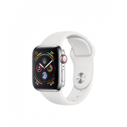 40mm Apple Watch Series 4 GPS + Cellular Stainless Steel Case with White Sport Band