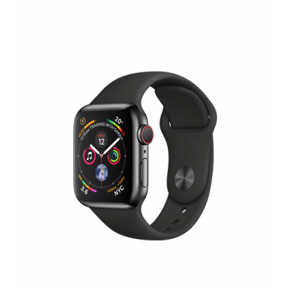 40mm Apple Watch Series 4 GPS + Cellular Space Black Stainless Steel Case with Black Sport Band