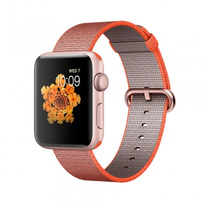 Apple Watch Series 2, 42mm Rose Gold Aluminium Case with Orange/Anthracite Woven Nylon Band
