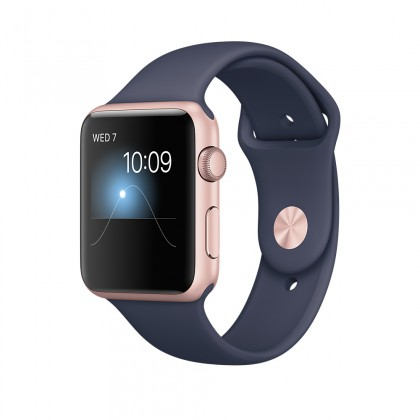 Apple Watch Series 1, 42mm Rose Gold Aluminium Case with Midnight Blue Sport Band