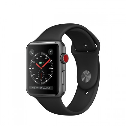 Apple Watch Series 3 GPS + Cellular, Space Grey Aluminium Case with Black Sport Band