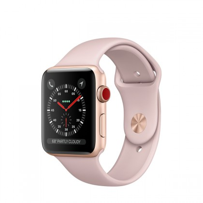 Apple Watch Series 3 GPS + Cellular, 38mm Gold Aluminium Case with Pink Sand Sport Band