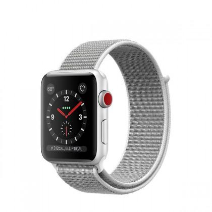 Apple Watch Series 3 GPS + Cellular, 38mm Silver Aluminium Case with Seashell Sport Loop
