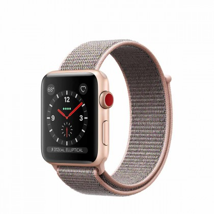 Apple Watch Series 3 GPS + Cellular, 42mm Gold Aluminium Case with Pink Sand Sport Loop