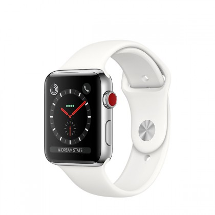 Apple Watch Series 3 GPS + Cellular, 42mm Stainless Steel Case with Soft White Sport Band