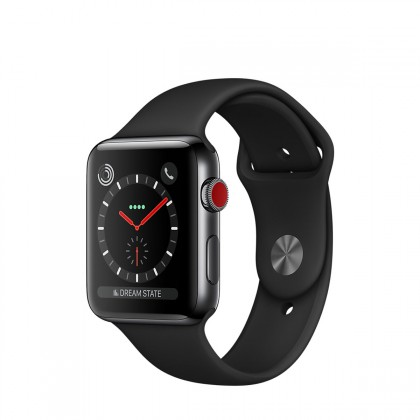 Apple Watch Series 3 GPS + Cellular, 42mm Space Black Stainless Steel Case with Black Sport Band
