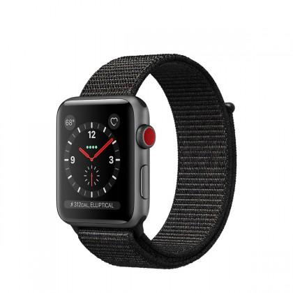 Apple Watch Series 3 GPS + Cellular, 42mm Space Grey Aluminium Case with Black Sport Loop