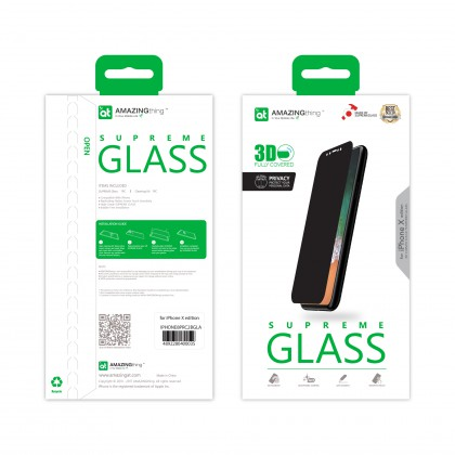 AMAZINGthing Apple iPhone X 0.3mm 3D 180 Privacy SupremeGlass