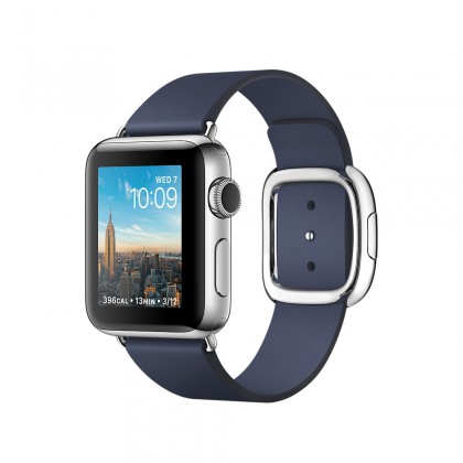 Apple Watch Series 2, 38mm Stainless Steel Case with Midnight Blue Modern Buckle - Small - Medium - Large