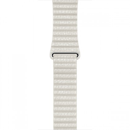 Apple - 42mm White Leather Loop - Large