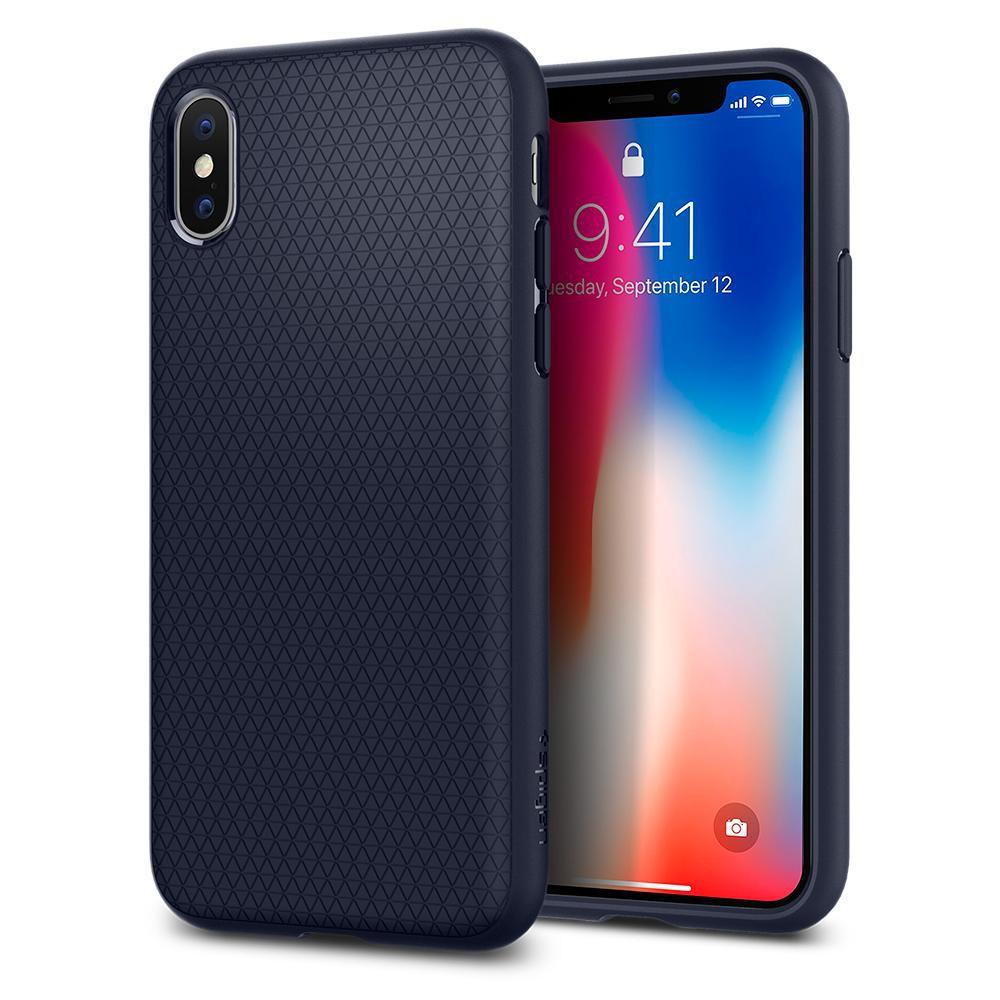 sale retailer f7b14 4fb5c Spigen iPhone X Liquid Air Midnight Blue 057CS22124