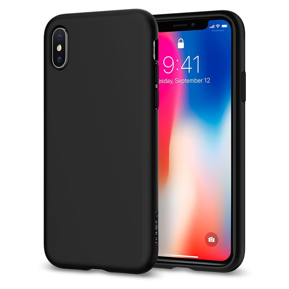 super popular b70ce d38e4 Spigen iPhone X Liquid Crystal Matte Black 057CS22119