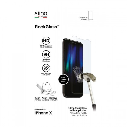 Aiino - RockGlass with applicator for iPhone X - Premium - Glass